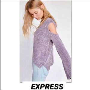 EXPRESS Plush Chenille Cold Shoulder Sweater